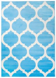 SMILE Tapis Moderne Géométrique Trèfle Marocaine Bleu Blanc Fin