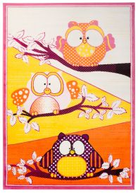 SMILE Area Rug Children Room Play Mat Animal Owl Orange Yellow
