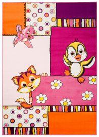 Smile Teppich Tiere Katze Pink Gelb Weiß Lila Kinderzimmer