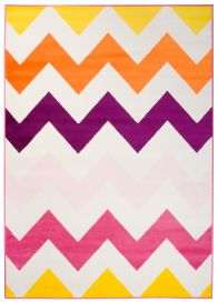 SMILE Tapis Moderne Géométrique Zigzags Multicolore Blanc Jeu Fin