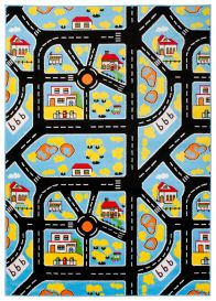 SMILE Area Rug Kids Room Play Mat City Town Streets Multicolour Blue
