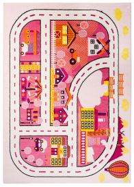 SMILE Area Rug Children Room Play Mat City Town Streets White Pink
