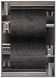 SCARLET DELUXE Tapis Moderne Abstrait Bordé Noir Gris Beige Lisse