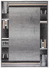 SCARLET DELUXE Tapis Moderne Abstrait Bordé Gris Beige Noir Lisse