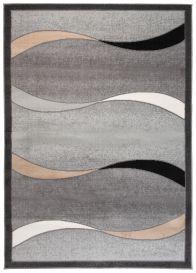 SCARLET DELUXE Tapis Moderne Abstrait Ondes Gris Beige Noir Lisse