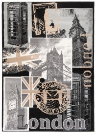 SCARLET DELUXE Tapis Moderne Motif Londres Crème Noir Beige Fin