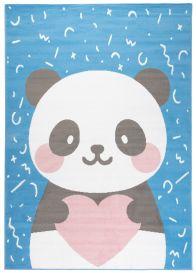 JOLLY Teppich Kurzflor Kinderteppich Spielmatte Blau Grau Rosa Panda