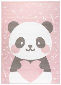 JOLLY Tapis Moderne Jeu Panda Rose Blanc Gris Fin Résistant Doux
