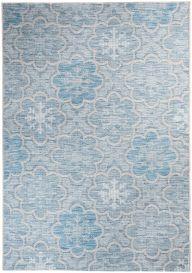 Terazza Teppich Sisal Modern Blumen Floral Blau Creme Grau