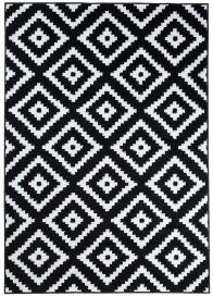 Luxury Teppich Kurzflor Schwarz Weiß Modern Karo Design