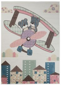 HAPPY Teppich Kurzflor Modern Kinderteppich Creme Bunt Flugzeug