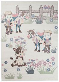 HAPPY Kids Area Rug Short Pile Play Mat Farm Animals Cream