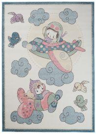 HAPPY Teppich Kurzflor Modern Kinderteppich Creme Bunt Flugzeuge