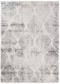 Troya Teppich Kurzflor Modern Marokkanisch Gitter Creme Grau