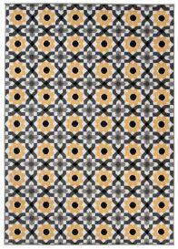 MAYA Vloerkleed Tapijt Grijs Geel Antraciet Bloemen Modern Design