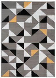 Maya Teppich Kurzflor Grau Weiß Gelb Geometrisch Dreiecke