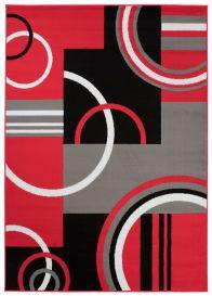 MAYA Vloerkleed Grijs Rood Abstract Cirkels Eyecather Praktisch