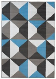 MAYA Vloerkleed Grijs Zwart Blauw Eyecather Geometrisch Design