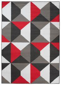 Maya Teppich Kurzflor Grau Weiß Rot Modern Vierecke Design