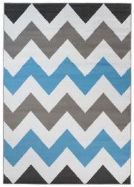 MAYA Vloerkleed Grijs Wit Blauw Zigzag Eyecather Praktisch Design