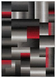 MAYA Vloerkleed Grijs Rood Abstract Geometrisch Eyecather Design