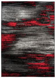 MAYA Vloerkleed Grijs Zwart Rood Abstract Eyecather Praktisch